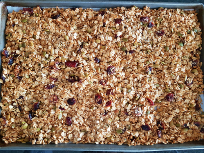 Granola in cookie tray