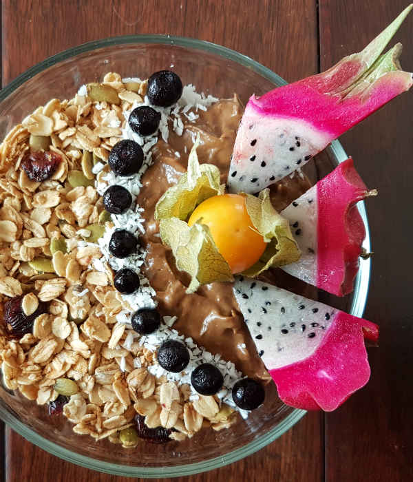 Chocolate Avocado Pudding Granola Fruit