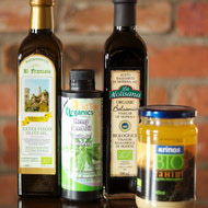 Many different organic extra virgin olive oils, balsamic, hemp and tahini.